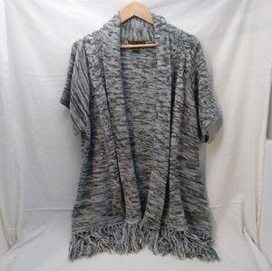 NWOT fringe bottom short sleeve long cardigan